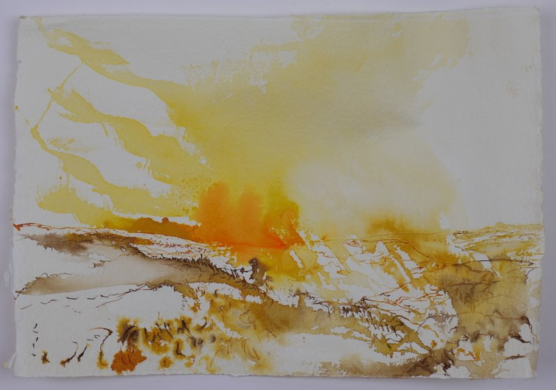 First view from Ebbor Gorge - ink on rag paper - 30x21cm - April 2011