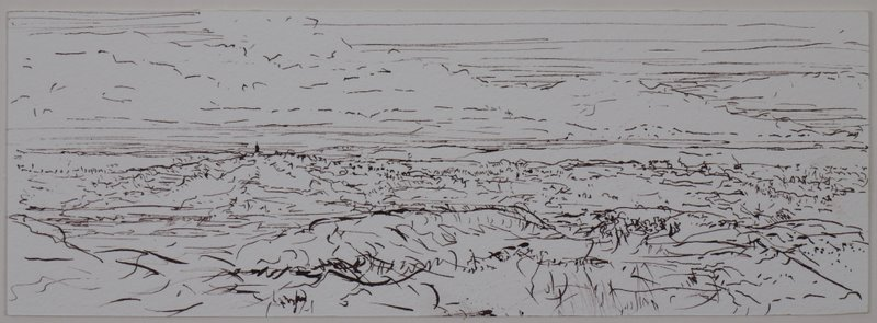 Looking over Glastonbury from Ebbor Gorge - pen and ink on paper - 25x10cm - April 2011