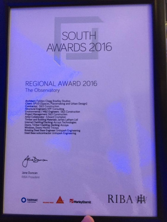 2016 RIBA South Award Certificate 2