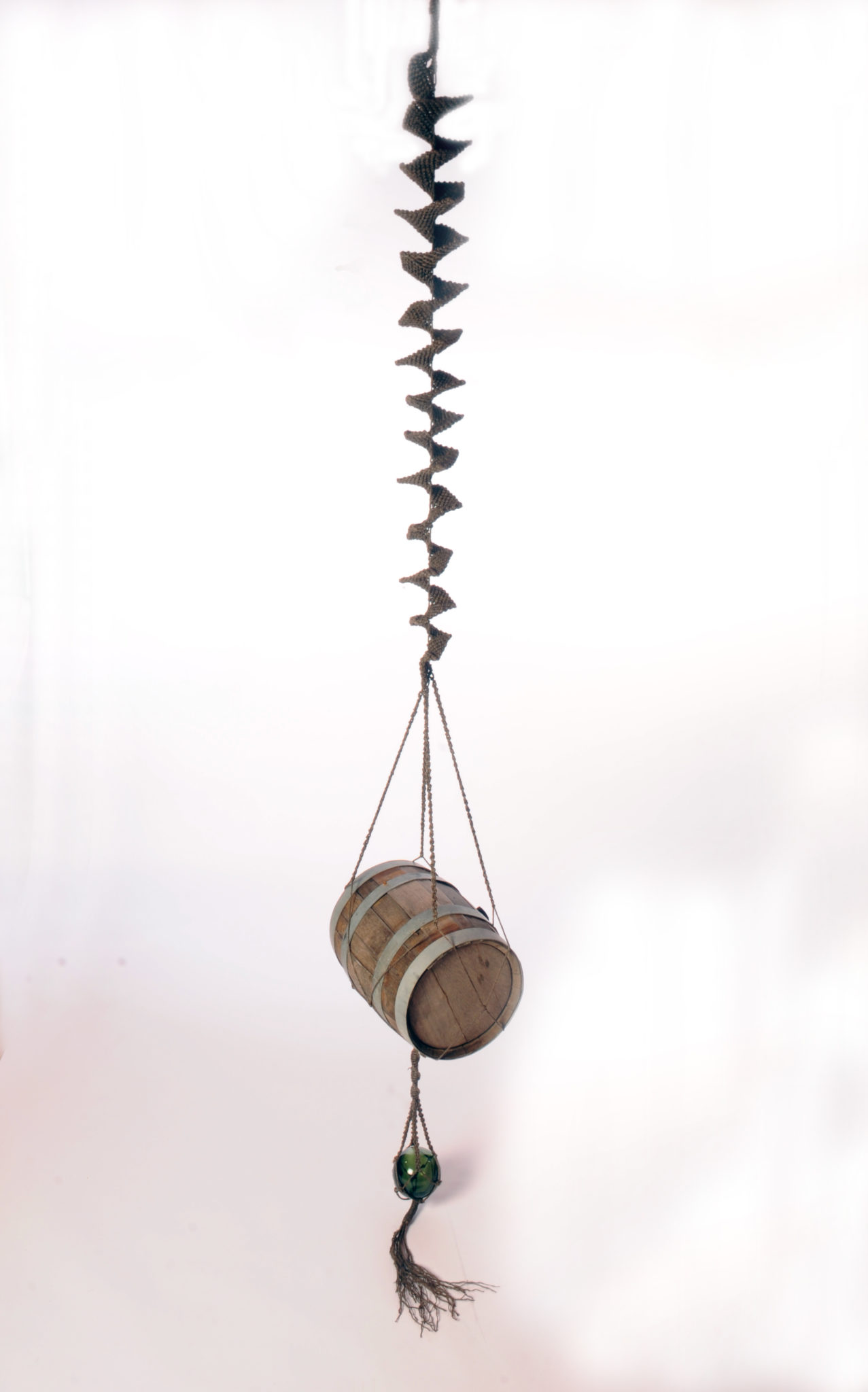 To the Four Corners of the Earth - 360 x 130 x 43 - 200 metres of hand knotted tarred marlin rope, four oak pin barrels - 2013 - one
